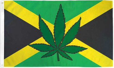 Jamaica Marijuana Leaf Flag