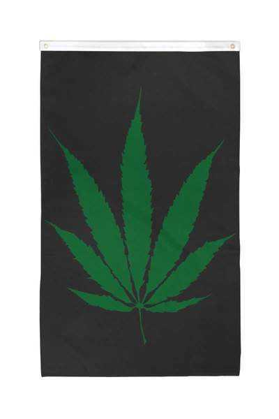 Marijuana Large Leaf Flag Polyester