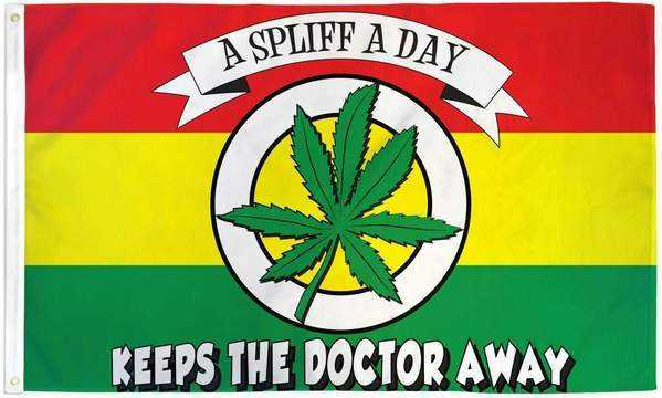 A Spliff A Day Flag Polyester