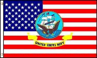 USA With Navy Logo Flag