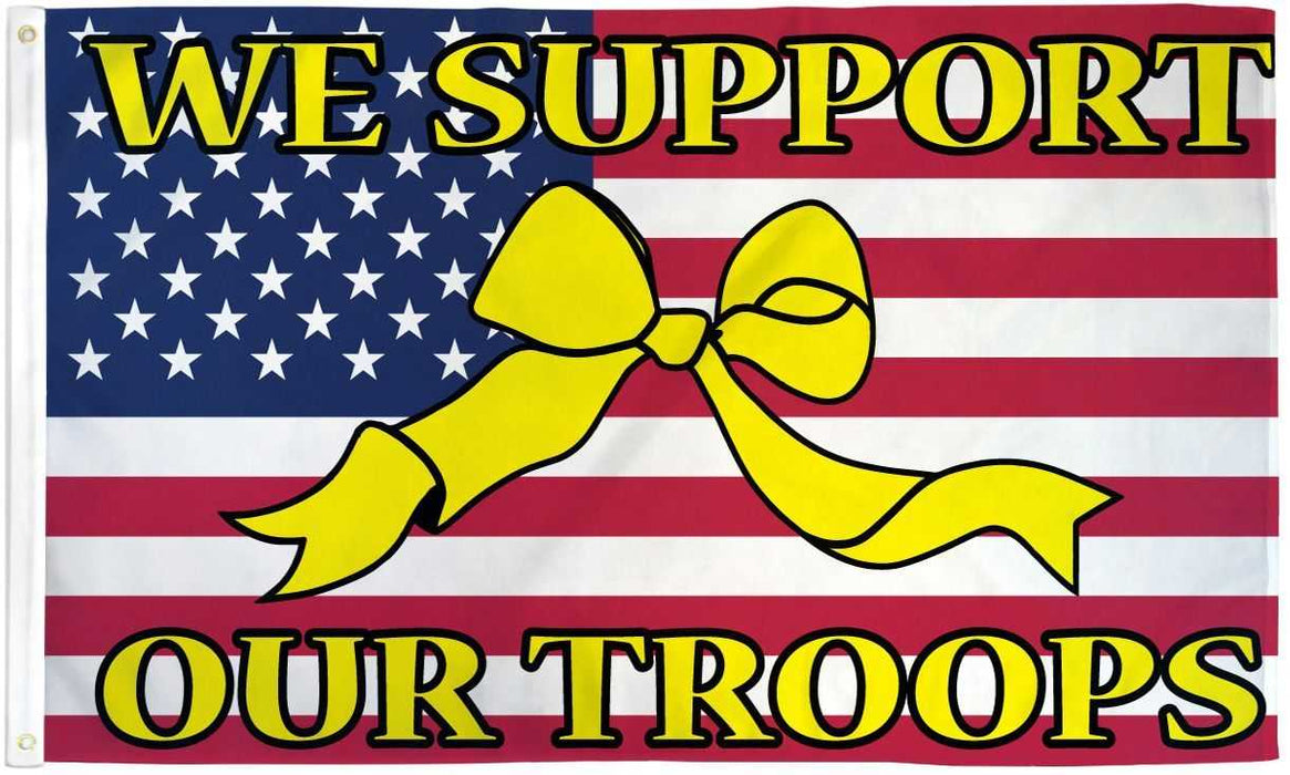USA We Support Our Troops Ribbon Flag
