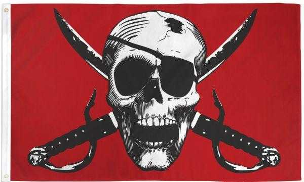 Crimson Skull and Swords Pirate Flag