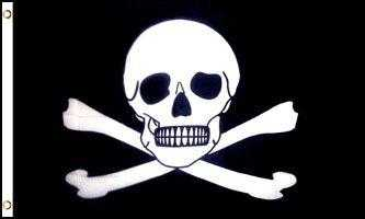 Large Pirate Skull and Bones Flag
