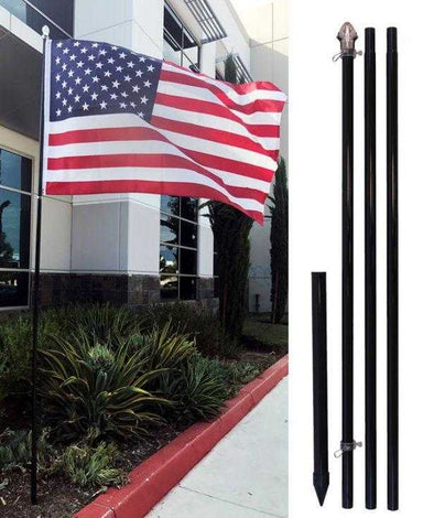 10ft Aluminum Outdoor Flag Pole with Ground Spike (Black/White/Silver)