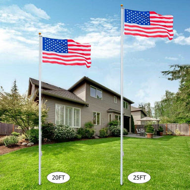 25ft Outdoor Sectional Flagpole Kit with Free USA Flag
