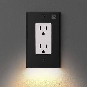 Outlet Wall Plate With LED Night Lights - no Batteries or Wires
