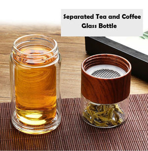 Separated Tea Coffee Glass Bottle