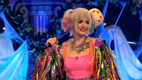 Holly Willoughby Wears Our Chaos Jacket For Harley Quinn Birds Of Prey Bottle Blonde Studio