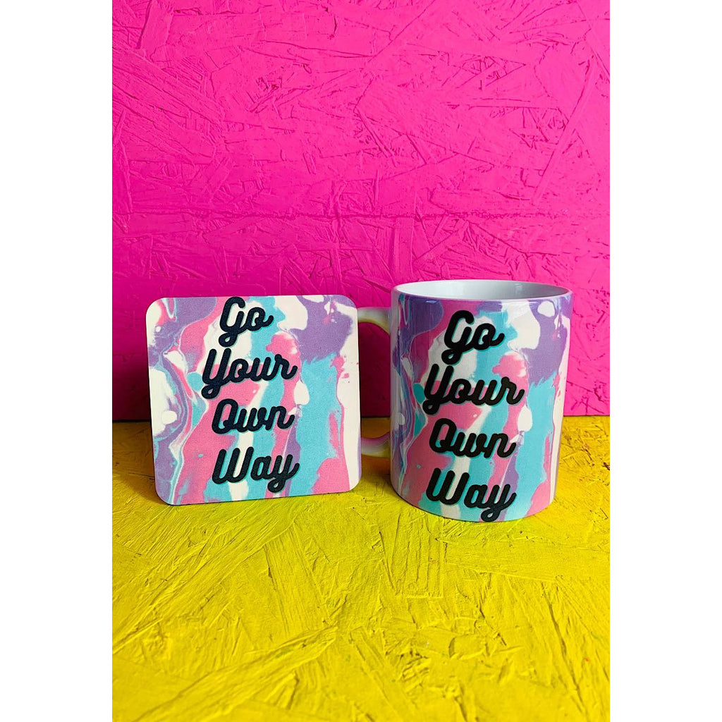 Go Your Own Way Slogan Mug and Coaster Gift Set