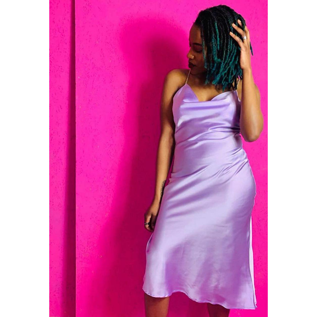 Carrie Lilac Satin Slip Dress