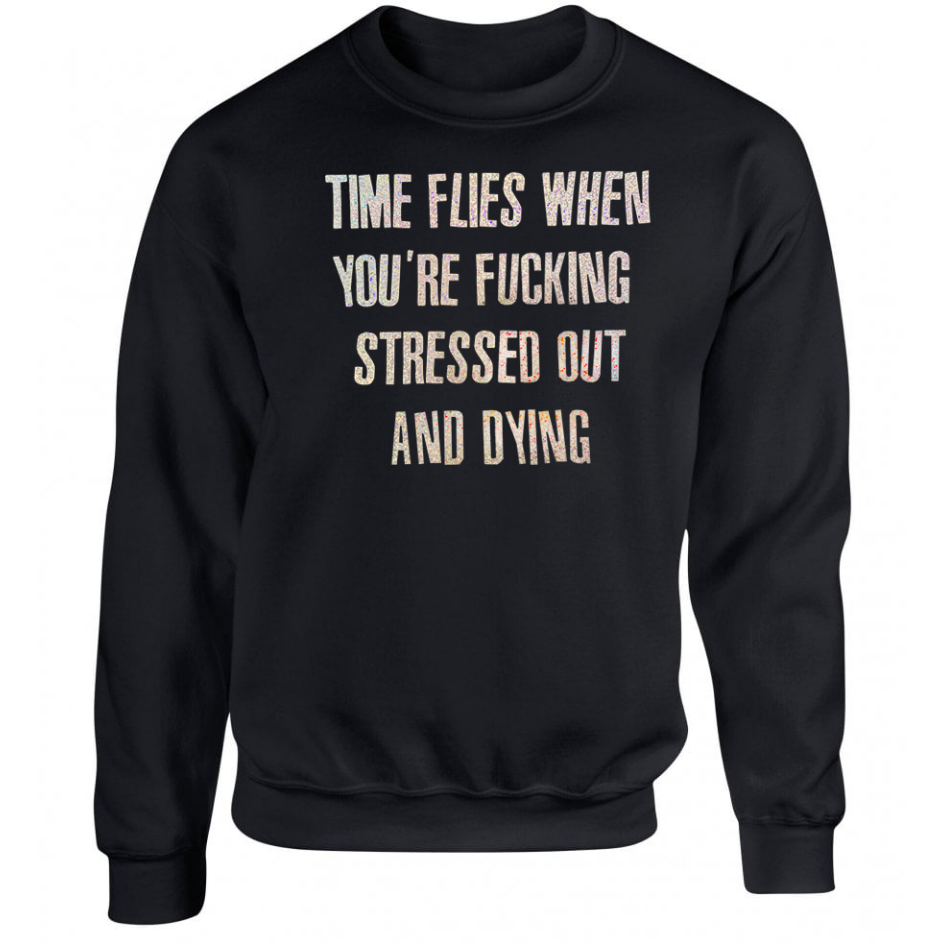 Time Flies Black Unisex Sweater ONE WEEK PRE-ORDER