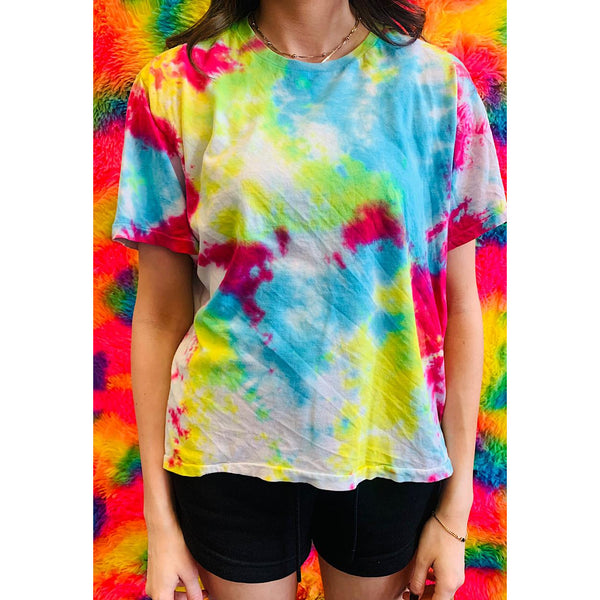 Vintage Tie Dye T-Shirt Medium Bright Splatter
