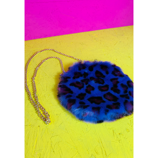 Purple Leopard Print Round Bag With Chain