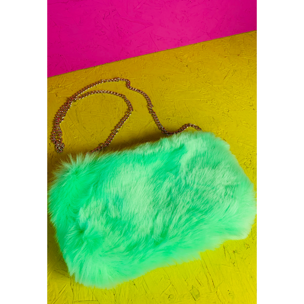 Neon Green Faux Fur Shoulder Bag