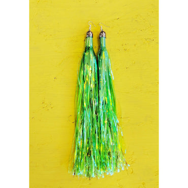 Neon Green Shoulder Length Prismatic Earrings