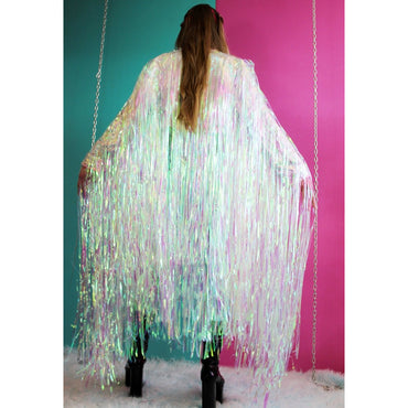 Unicorn Chunky Maxi Jacket 4 WEEK PRE-ORDER (Made to Order); festival; Bottle Blonde iridescent reflective