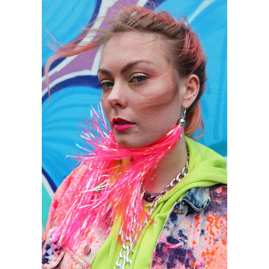 Neon Pink Prismatic Earrings Bottle Blonde Tinsel Festival