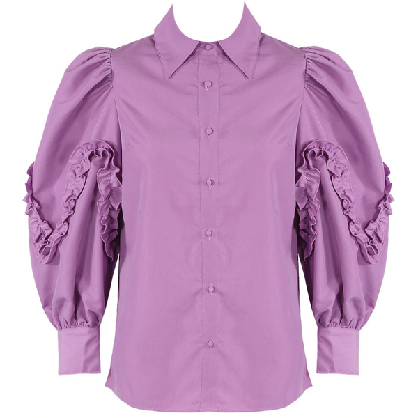 Selena Lilac Pleated Sleeve Blouse