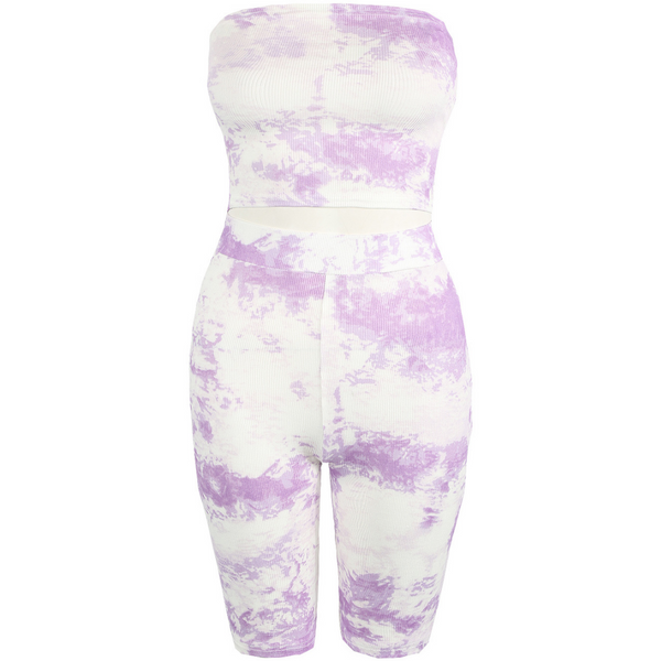 Lilac Tie Dye Bandeau and Cycling Shorts Set