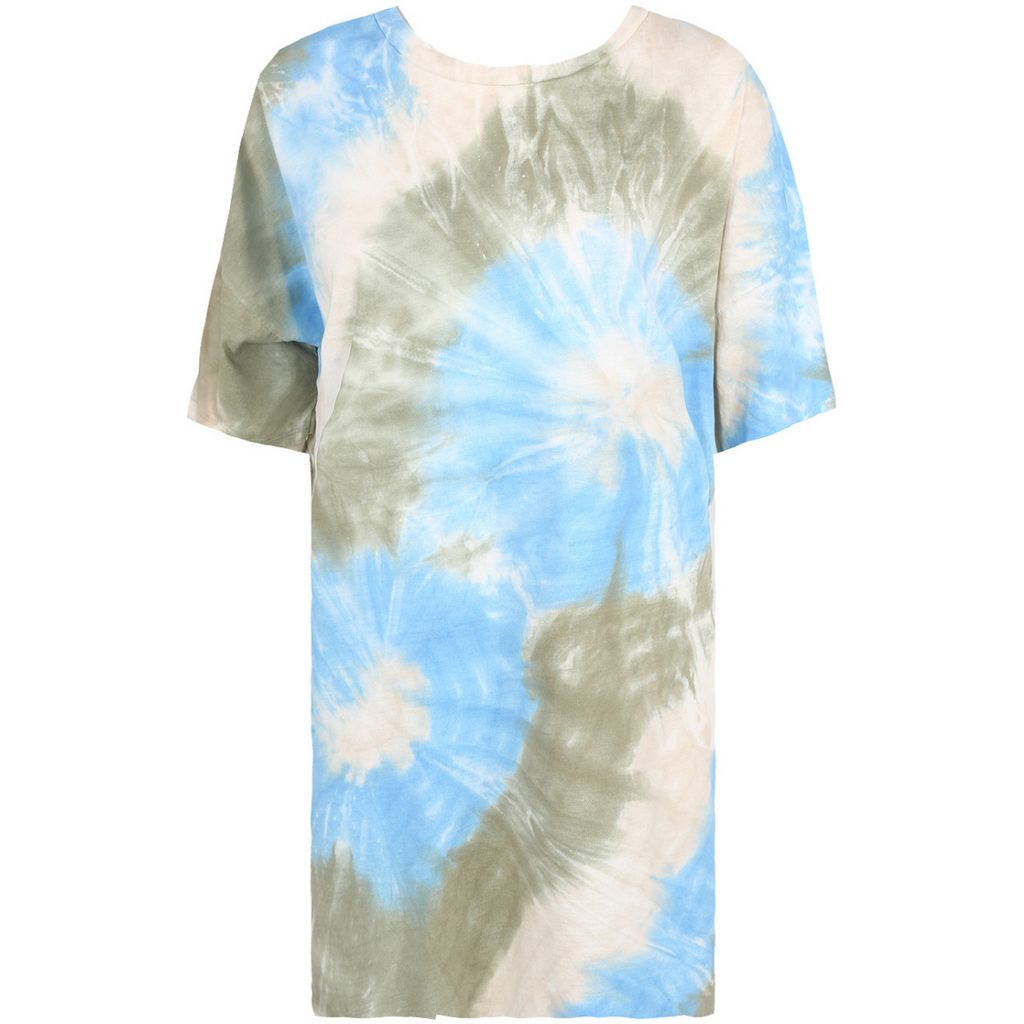 Blue and Grey Tie Dye Summer Dress