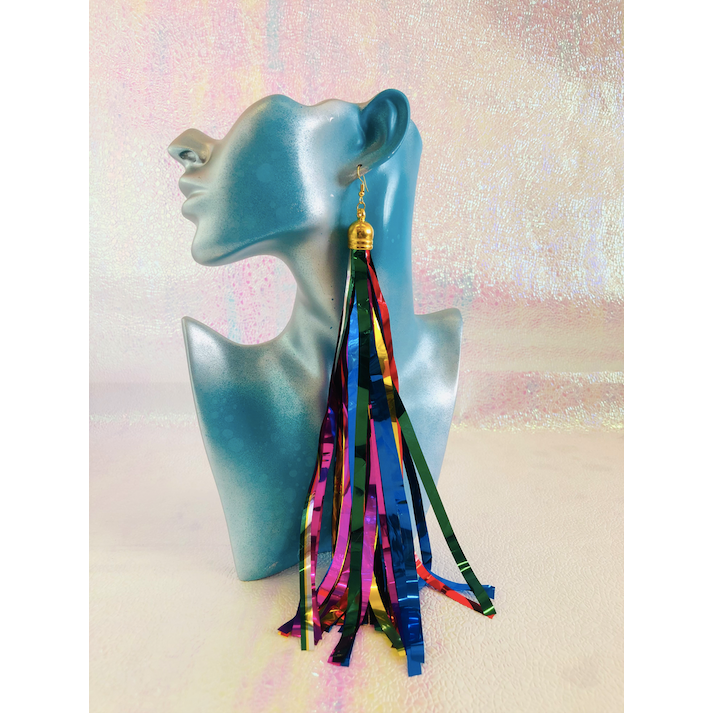 Rainbow Tinsel Earrings Medium #85