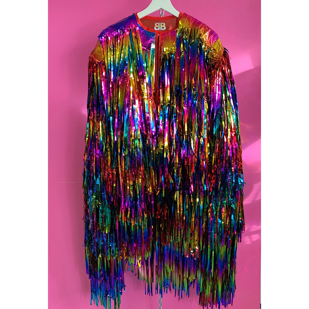Rainbow Ombre Cascade Tinsel Jacket (Made to Order)