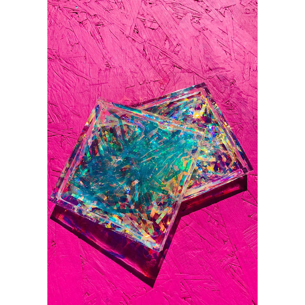 Prismatic Resin Square Chunky Coasters