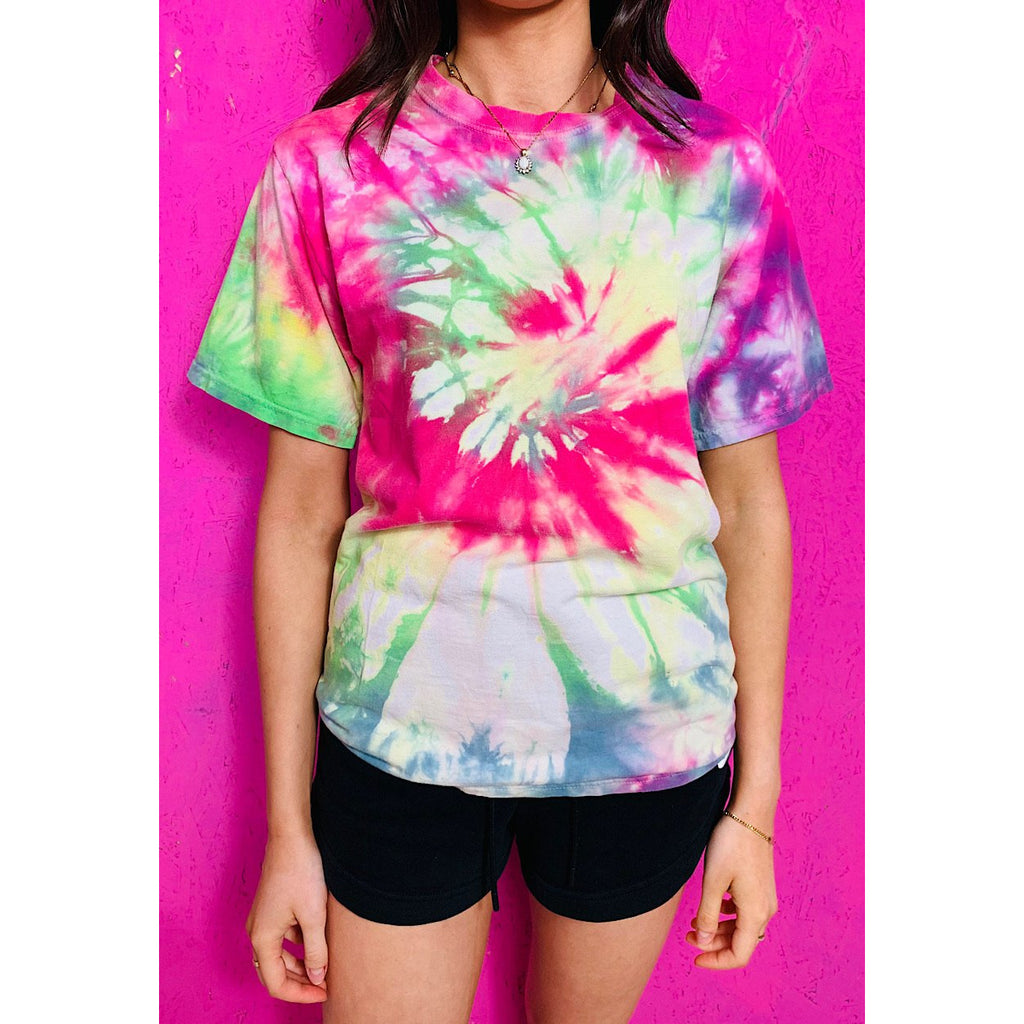 Vintage Tie Dye T-Shirt Small Pink Green Purple