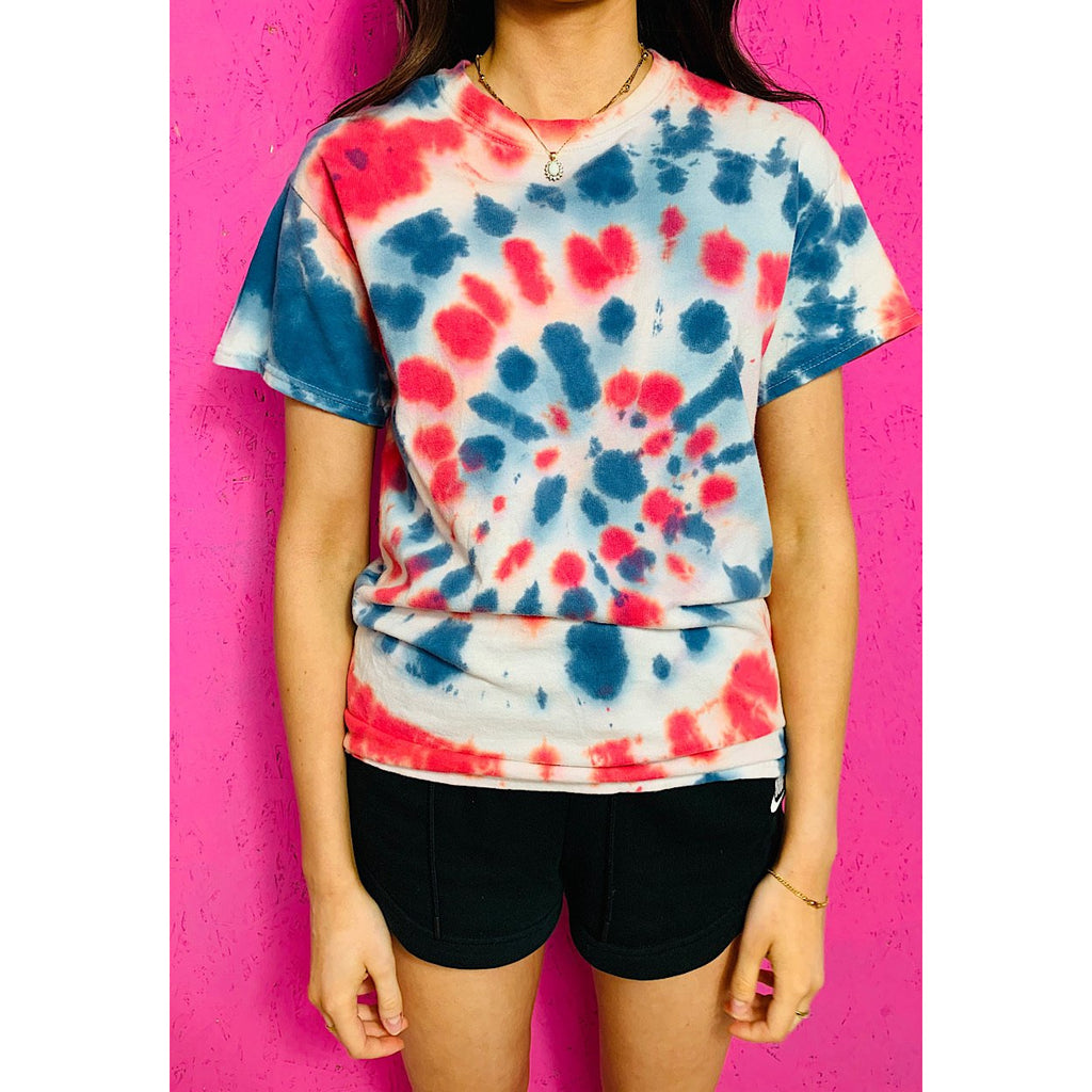 Vintage Tie Dye T-Shirt Small Red Blue Spotty