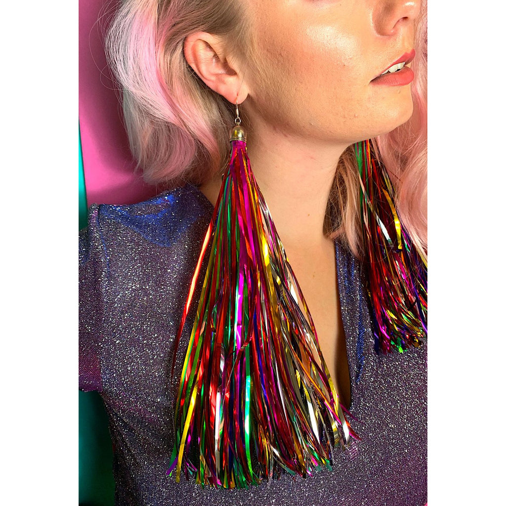 Rainbow Prismatic Tinsel Earrings 2 WEEK PRE-ORDER