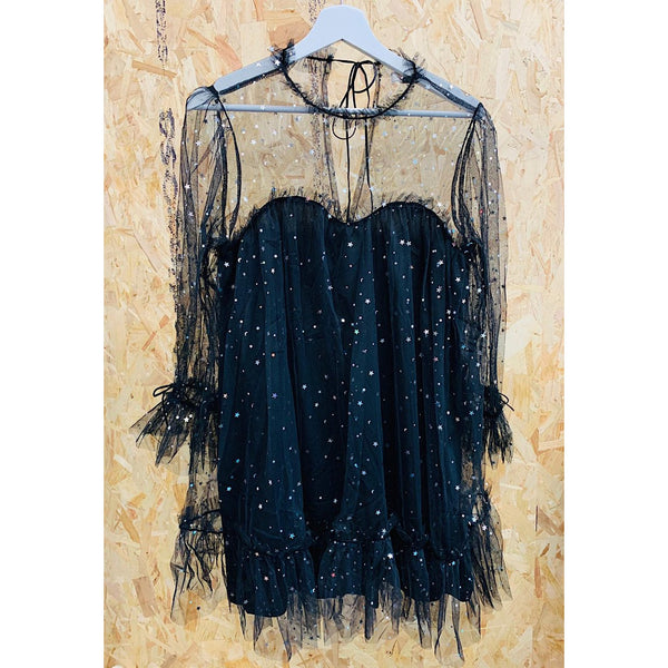 Black Stars and Moon Tulle Ruffled Shift Dress