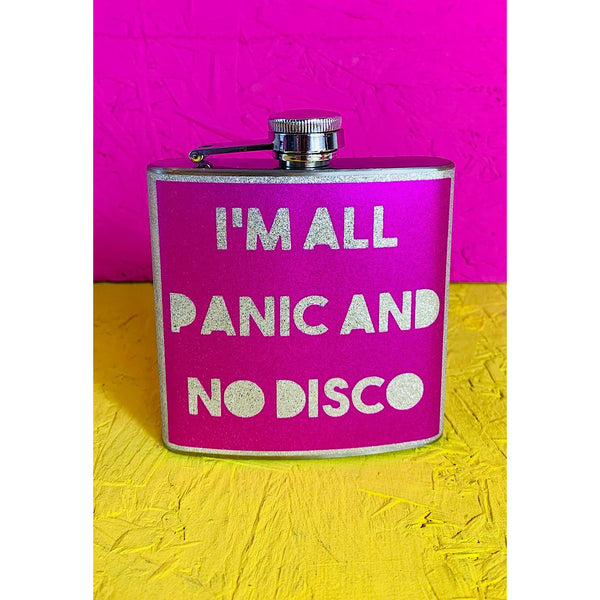 I'm All Panic and No Disco Pink Glitter Hip flask
