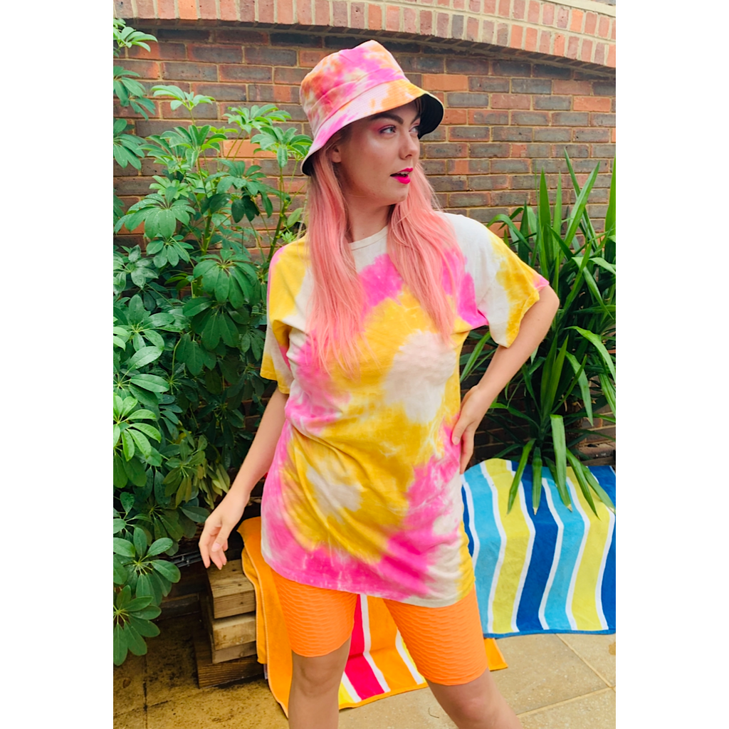 Pink and Yellow Tie Dye Summer Dress
