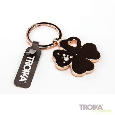 "TROIKA Keychain  ""GIRLS BEST FRIENDS Clover"" - ROSE GOLD"