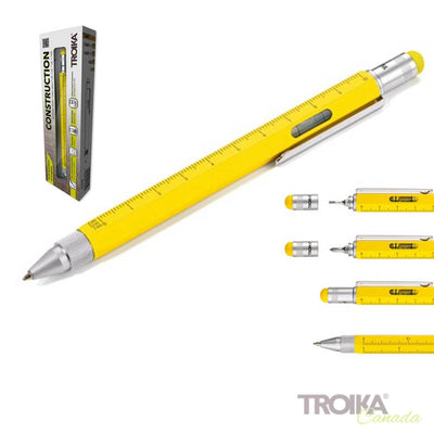 "TROIKA Multitasking ballpoint pen ""CONSTRUCTION"" - yellow"