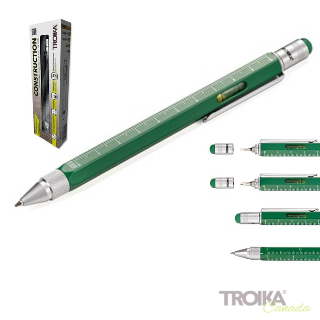"TROIKA Multitasking ballpoint pen ""CONSTRUCTION"" - green"