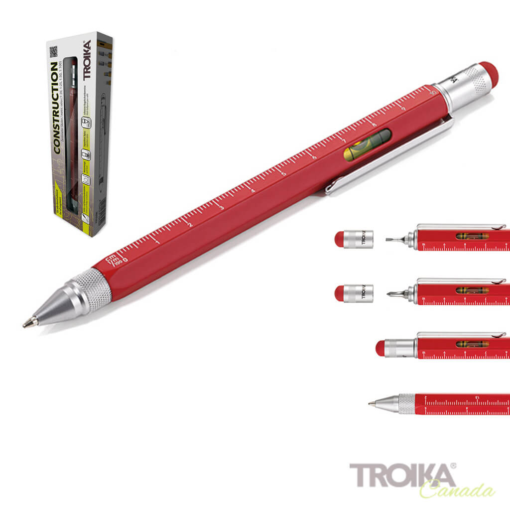 "TROIKA Multitasking ballpoint pen ""CONSTRUCTION"" - red"