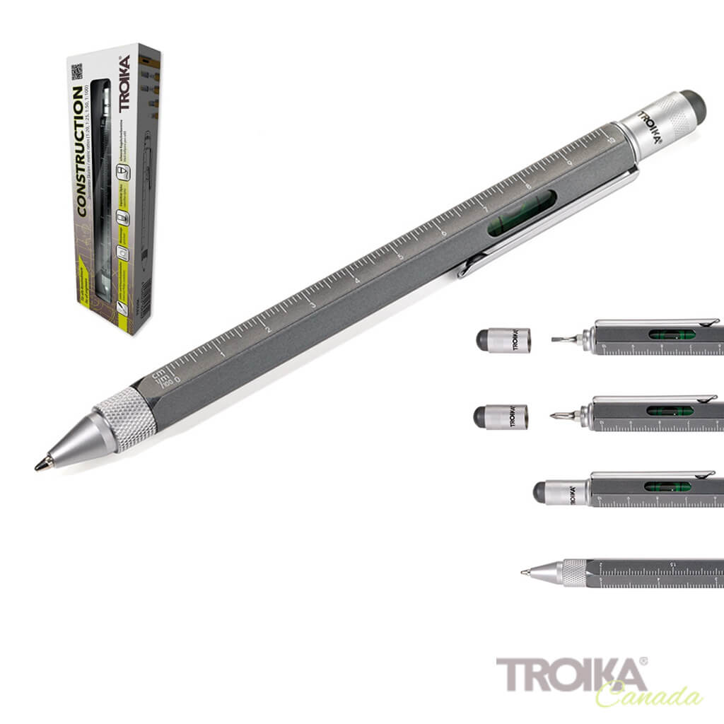 "TROIKA MULTITASKING BALLPOINT PEN ""CONSTRUCTION"" - GREY"