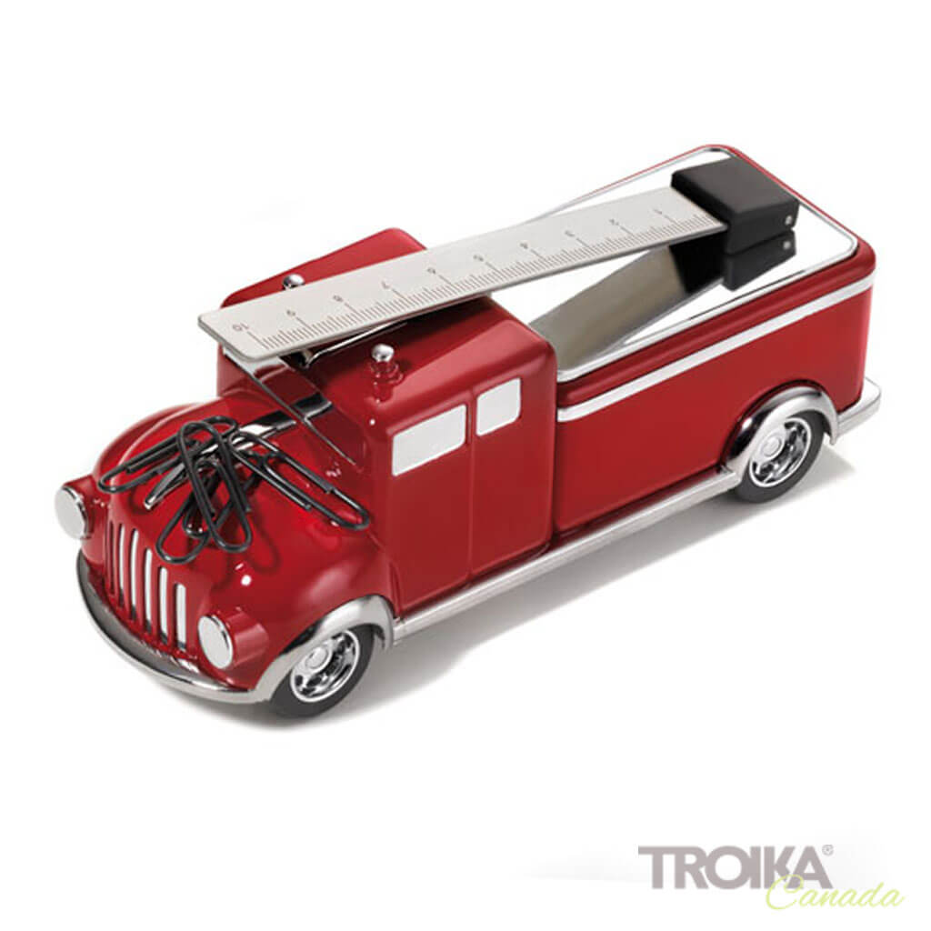 "TROIKA Paper clip holder ""FIREFIGHTER"" - red"