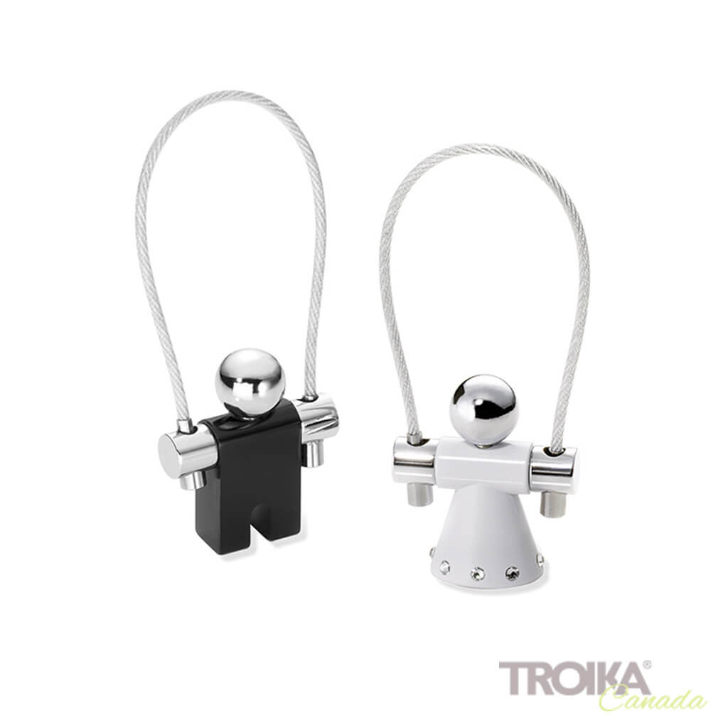 "TROIKA Keychain ""JUMP TOGETHER"" - black/white"