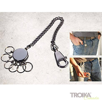 "TROIKA Key organizer ""PATENT CHAIN"" - shiny, black-chrome"