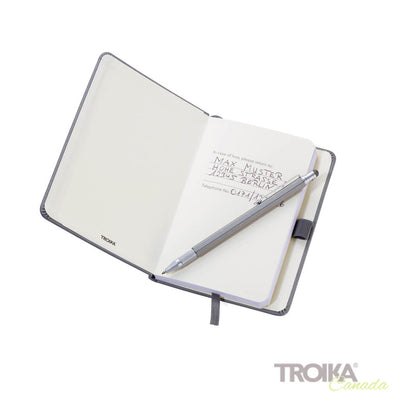 TROIKA Notepad DIN A6 incl. ballpoint pen SLIM - BLACK