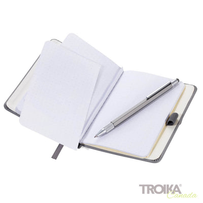 TROIKA Notepad DIN A6 incl. ballpoint pen SLIM - GREY