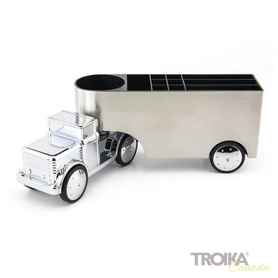 "TROIKA Pen holder ""OFFICE TRUCKER"" - silver"