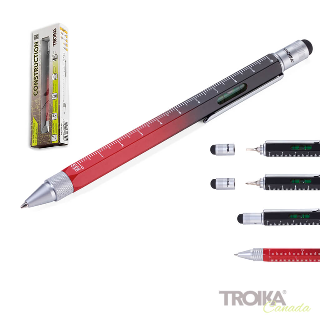 "TROIKA Multitasking ballpoint pen ""CONSTRUCTION"" - gradient black/red"