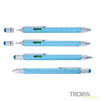"TROIKA Multitasking ballpoint pen ""CONSTRUCTION"" - metallic blue"
