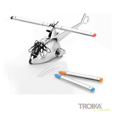 "TROIKA Paper clip holder ""READY 4 TAKEOFF"" - silver"