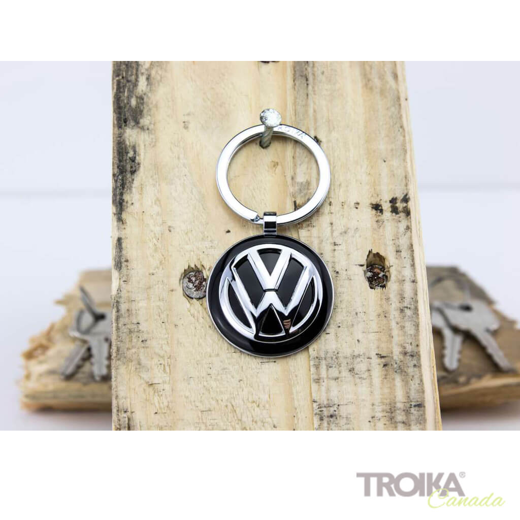 Volkswagen Chrome Plated Steering Wheel Keychain with VW Logo
