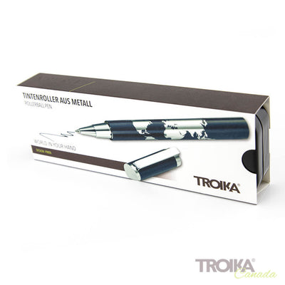 "TROIKA Rollerball pen ""WORLD IN YOUR HAND"" - blue"