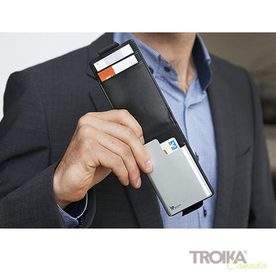 "TROIKA CREDIT CARD CASE ""BLACK & SILVER"""